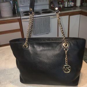 Michael Kors black leather gold chain purse